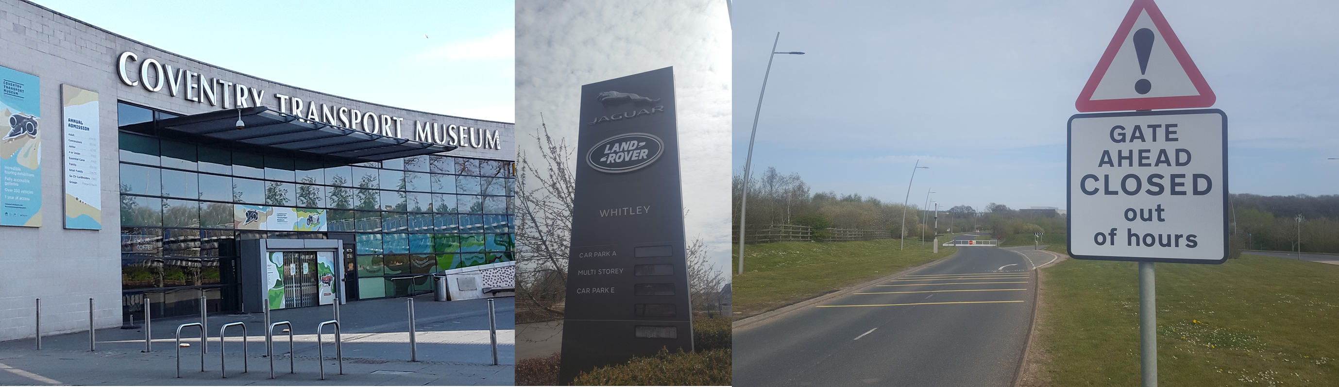 Vehicle Manufacture: The Coventry Transport Museum, and the Global Headquarters of JLR at Whitley and the London Electric Vehicle Company at Ansty. Note to self: don't try and take the photo on a Sunday next time...