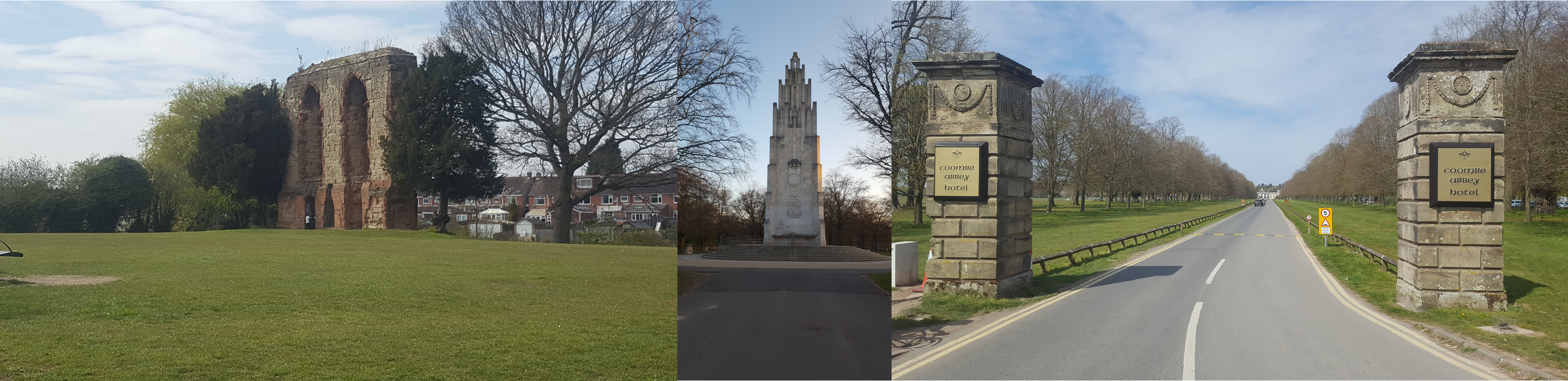 Parks: Caludon Castle, The War Memorial Park and Coombe Abbey. Take a closer look and it seems like the trees from Caludon and Coombe are growing into the War Memorial photo. Weird.....