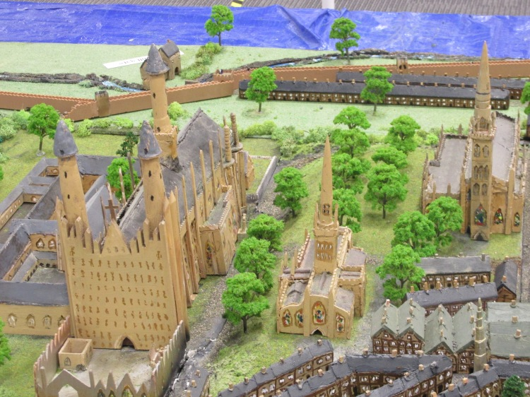 As they would have been in 1509, (but viewed from where the top of the mast in Broadgate is today) from the left: St Marys Cathedral and Priory, Holy Trinity Church, Michaels Church.
